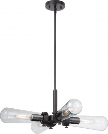 Nuvo Beaker - 4 Light Hanging Fixture with Clear Glass - Vintage Lamps Included (60-5364)