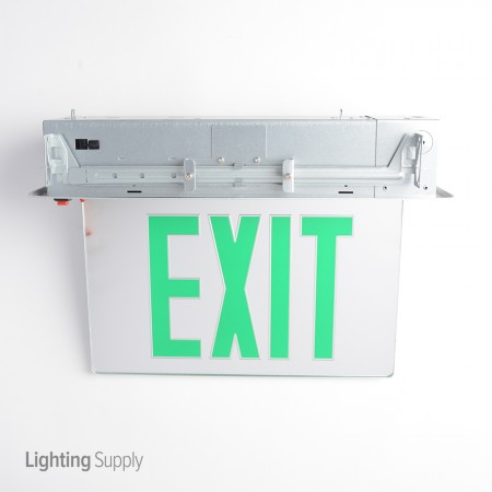 Best Lighting Products LED Double Faced Mirror Recessed Edge Lit Exit Sign  With Green Letters   Design Inspirations
