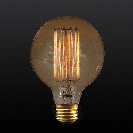 60 Watt G25 Incandescent 120V Medium (E26) Base Squirrel Cage Tungsten Filament Edison Bulb (LSCG25-60W)