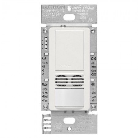 Lutron Maestro Passive Infrared (PIR) and Ultrasonic Single Circuit Occupancy Sensor -  120V-277V 6A Single Pole White Switch (MS-A102-WH)