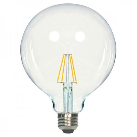 Satco 6.5 Watt G40 Globe LED 2700K 120V 810 Lumen 80 CRI Medium (E26) Base Clear Dimmable Edison Bulb (6.5G40/CL/LED/E26/27K/120V)
