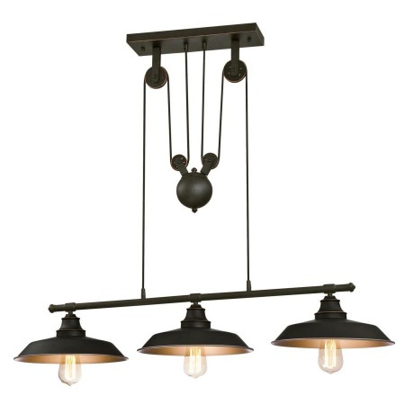 Westinghouse 3 Light Island Pulley Pendant Oil Rubbed Bronze Finish with Highlights and Metallic Bronze Interior (6332500)