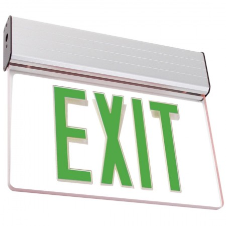 Battery Backup Best Lighting Products LED Single Faced Clear Edge Lit Exit Sign With Green Letters ELXTEU1GCAEM