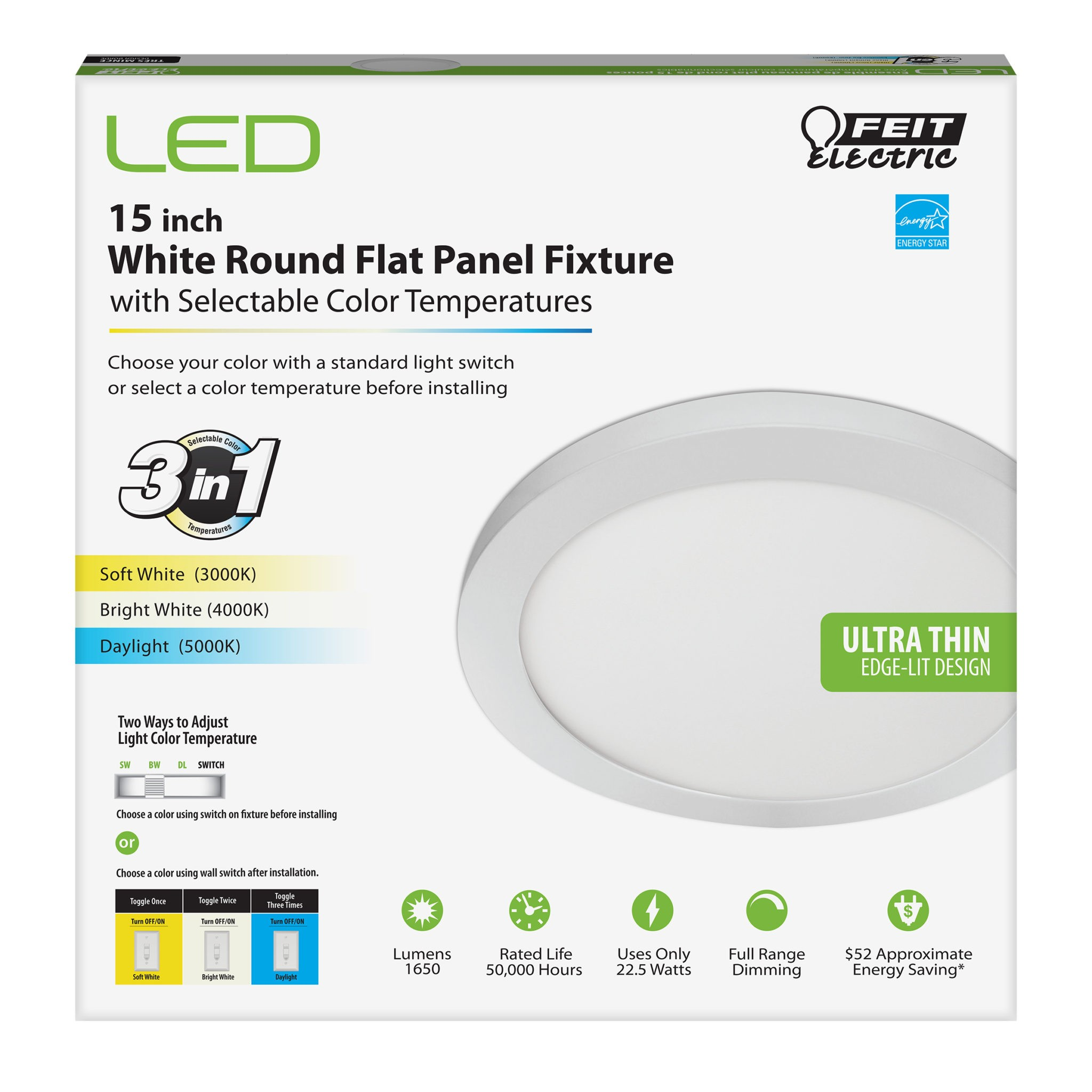 Feit Electric 74212 22 5 Watt Led Dimmable 15 Inch Round Edg