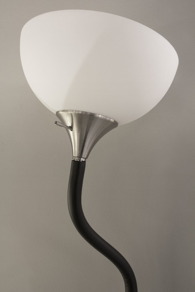 Adesso Black Foam Gander Floor Lamp With White Plastic Bowl Shade And 60 Inch Clear Cord And 3