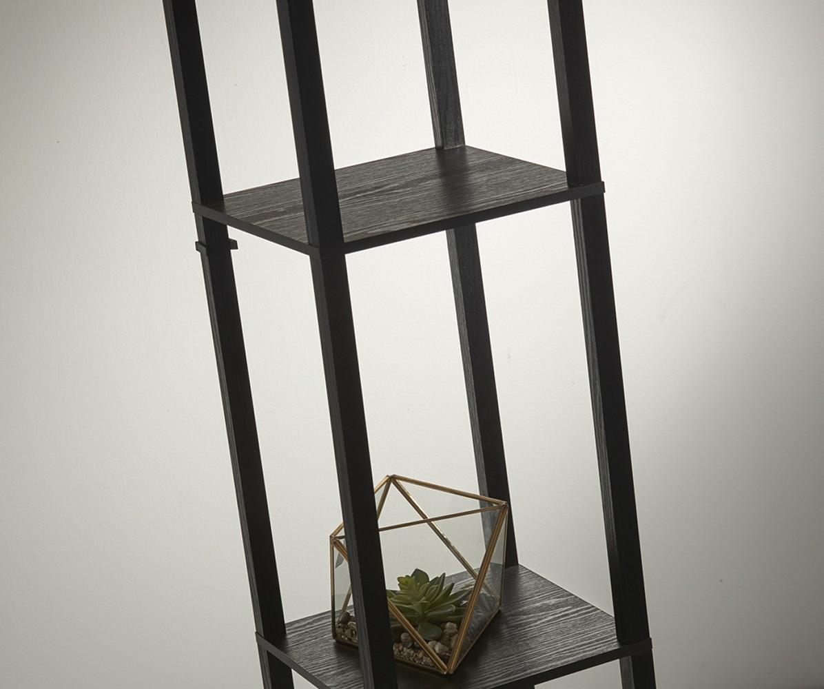 Adesso Black Wood Veneer On Mdf Wright Shelf Floor Lamp