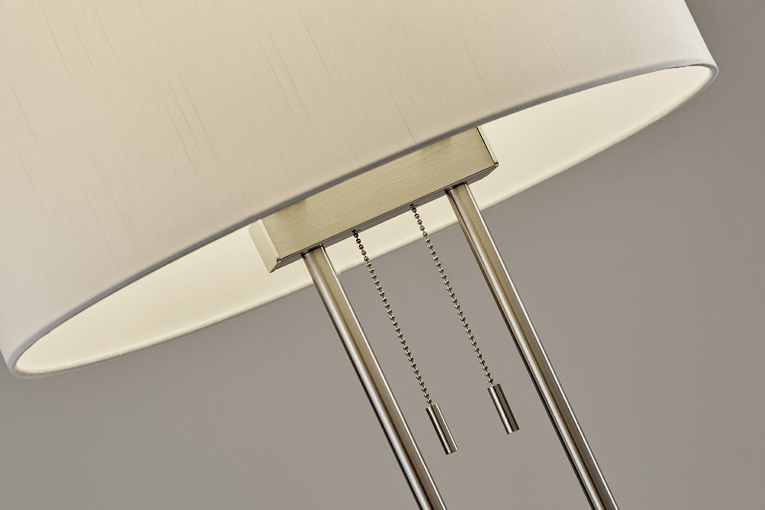 Adesso Brushed Steel Duet Floor Lamp With Ivory Silk Like