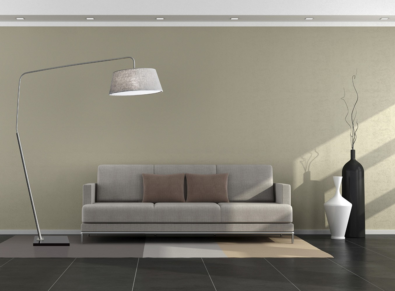 Adesso Brushed Steel Ludlow Arc Lamp With Coarse Grey