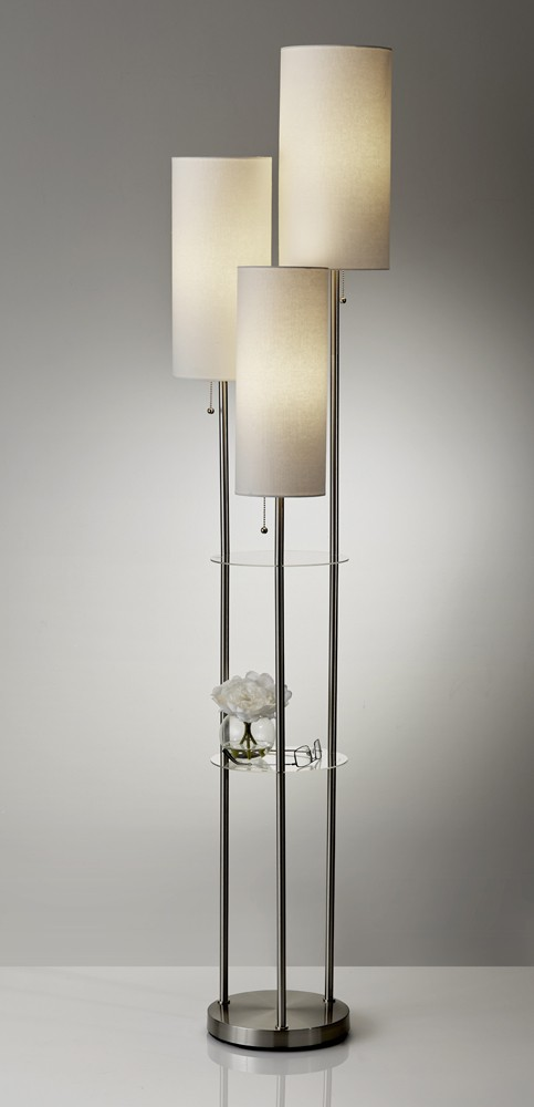 Adesso Brushed Steel Trio Floor Lamp With White Linen Tall