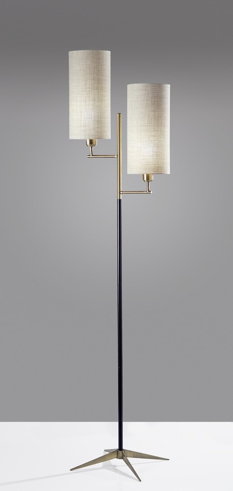Adesso Matte Black Amp Antique Brass Davis Floor Lamp With