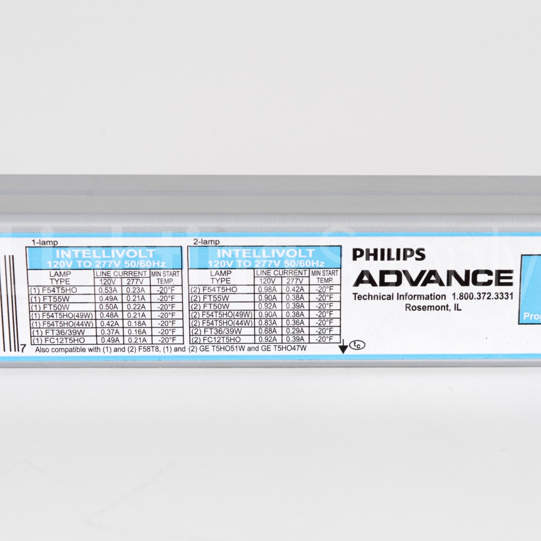 Advance ICN-2S54-T Programmed Start Fluorescent 120V-277V El