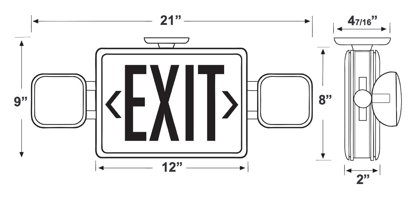 standard ledcxteu2rw led double faced white exit  emergency c