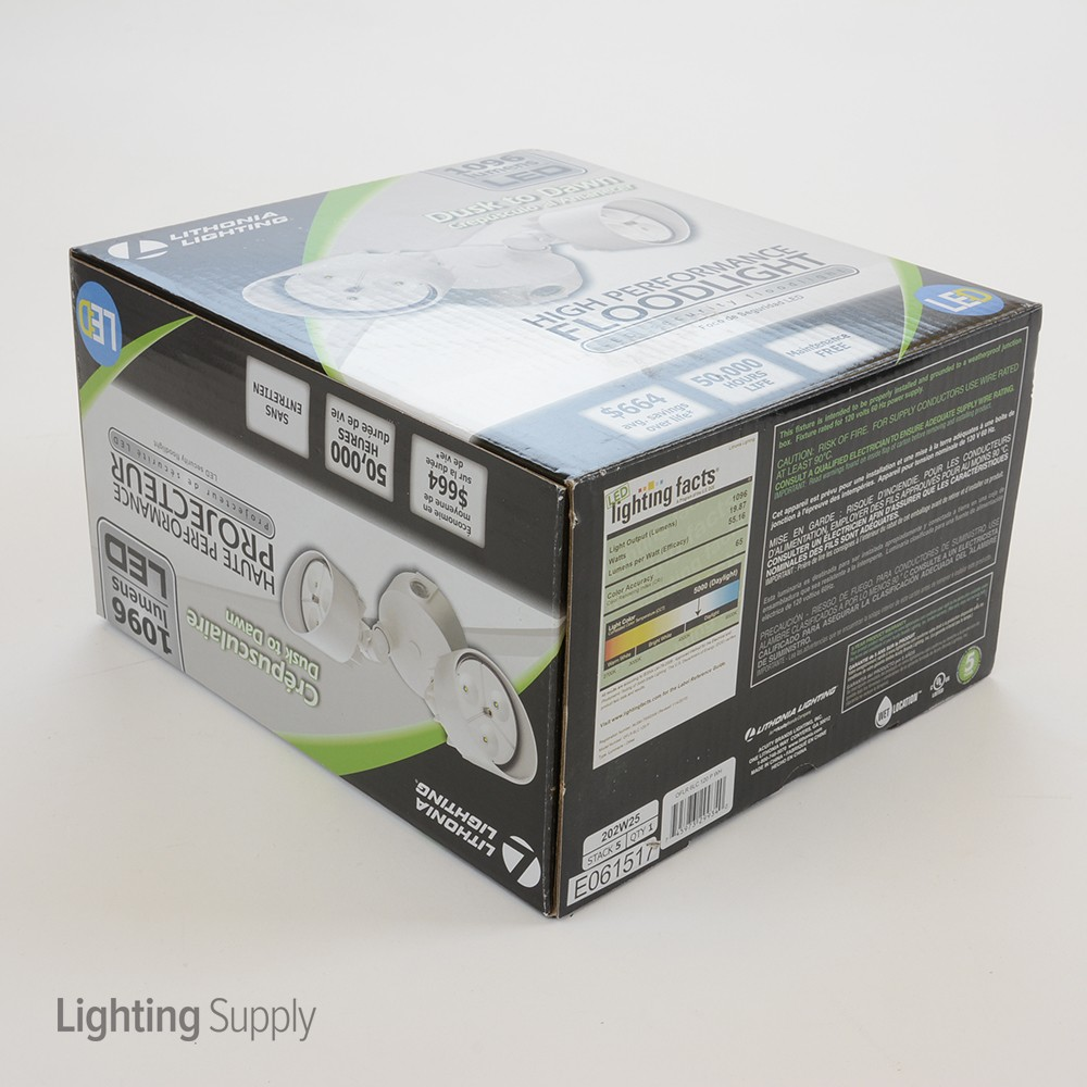 Lithonia Oflr6lc120pwh 20 Watt Led Dual Head Security Floodl