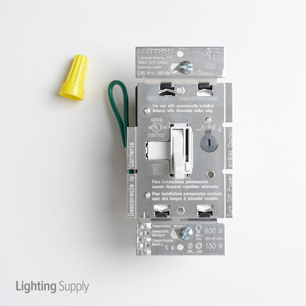 Lutron Aycl 153p Wh Ariadni White Cfl Led Toggle Dimmer 120v