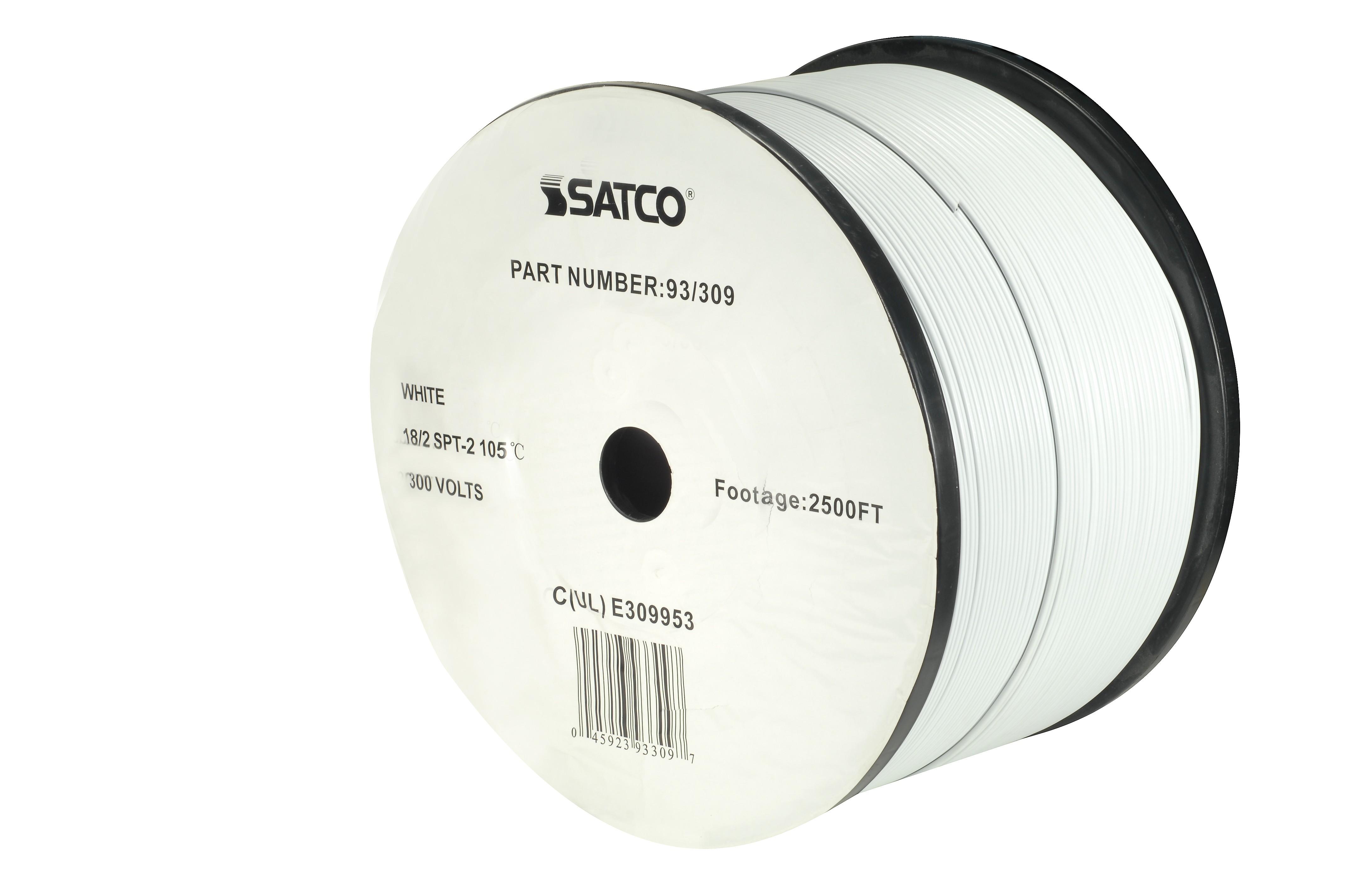 Satco 93-309 Bulk Wire; 18/2 Spt-2 105 Deg. C; 2500 Foot Ree