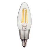 Satco 4.5 Watt C11 LED 2700K 120V 450 Lumen 80 CRI Candelabra (E12) Base Dimmable Bulb (4.5W CTC/LED/27)