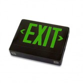 Best Lighting Products LED Double Faced Black Exit Sign with Green Letters - Remote Head Capable and Battery Backup (EZXTEU2GBEM-RC)