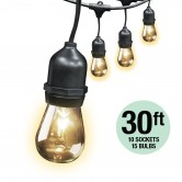 Feit Electric 30' Weatherproof String Lights 10 Sockets 3' Apart 15 Incandescent Bulbs Included (72041)