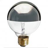 Satco 25 Watt G25 Incandescent 120V Medium (E26) Base Dimmable Clear with Silver Bowl Globe Bulb (25G25/SL)