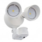 Lithonia 25 Watt LED 2-Head Security Floodlight with PIR Motion Detection and Photocell - 4000K 120V 70 CRI 2160 Lumen White Fixture (OLF 2RH 40K 120 MO WH)
