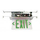 Best Lighting Products LED Single Faced Clear Recessed Edge Lit Exit Sign with Green Letters - Battery Backup (RELZXTE1GCAEM)