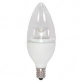 Satco 4.5 Watt B11 LED 3000K 120V 300 Lumen 80 CRI Candelabra (E12) Base Clear Decorative Torpedo Dimmable Bulb (4.5CTC/LED/3000K/E12/120V)