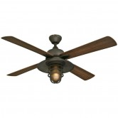 "Westinghouse 52"" Oil Rubbed Bronze Finish Fan with Dark Walnut ABS Resin Blades Includes Light Kit with Frosted Amber Glass (7204300)"