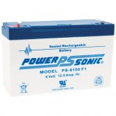 Power-Sonic 6V 12Ah Backup Battery for Emergency/Exit Fixtures (PS-6100)